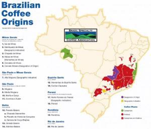 фото карты с регионами производства кофе в Бразилии