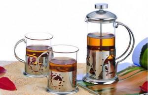 стеклянный заварочный чайник с поршнем